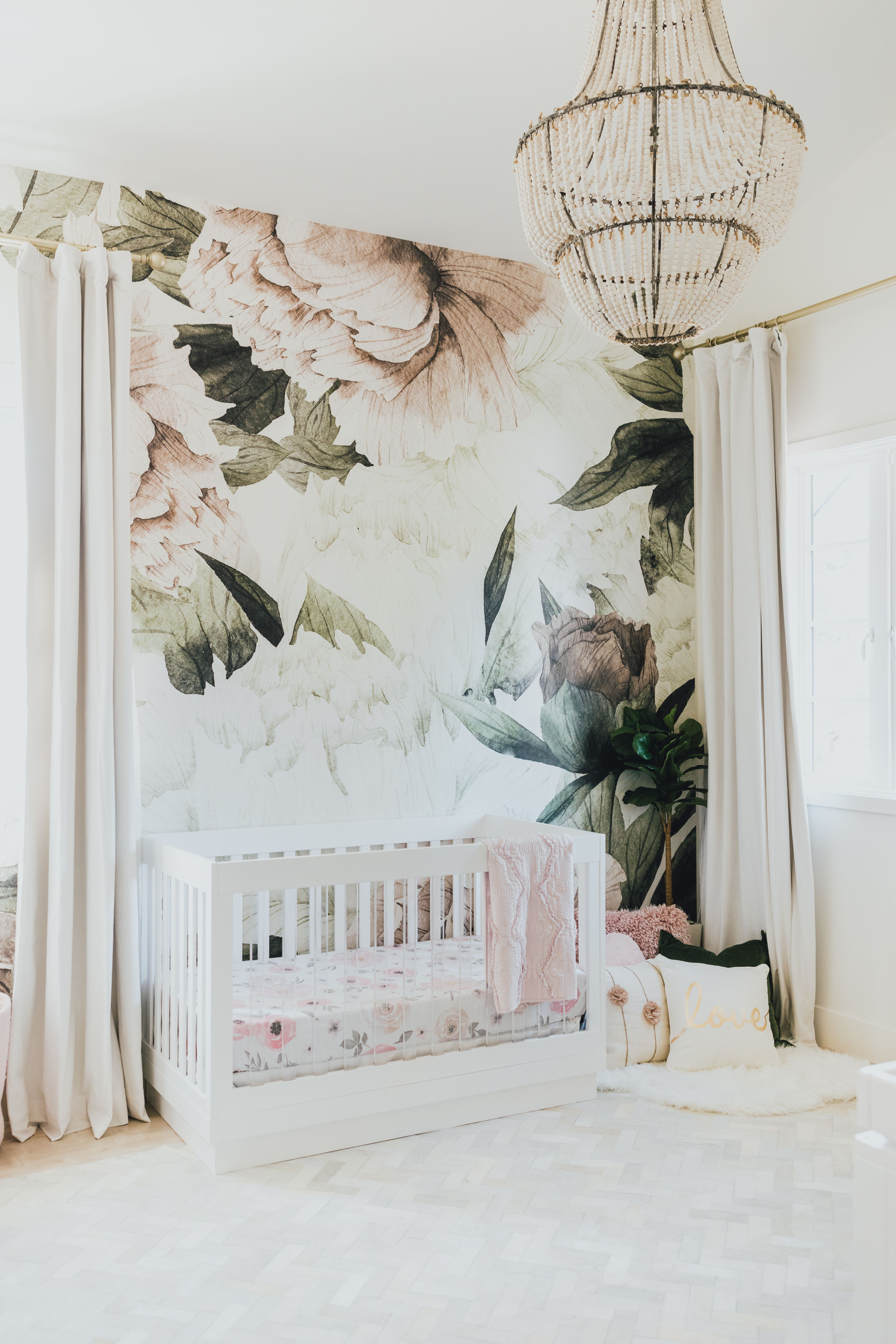 Large Blush Floral Wall Mural Little Crown Interiors Baby Girl Room Nursery Wallpaper Girl Room