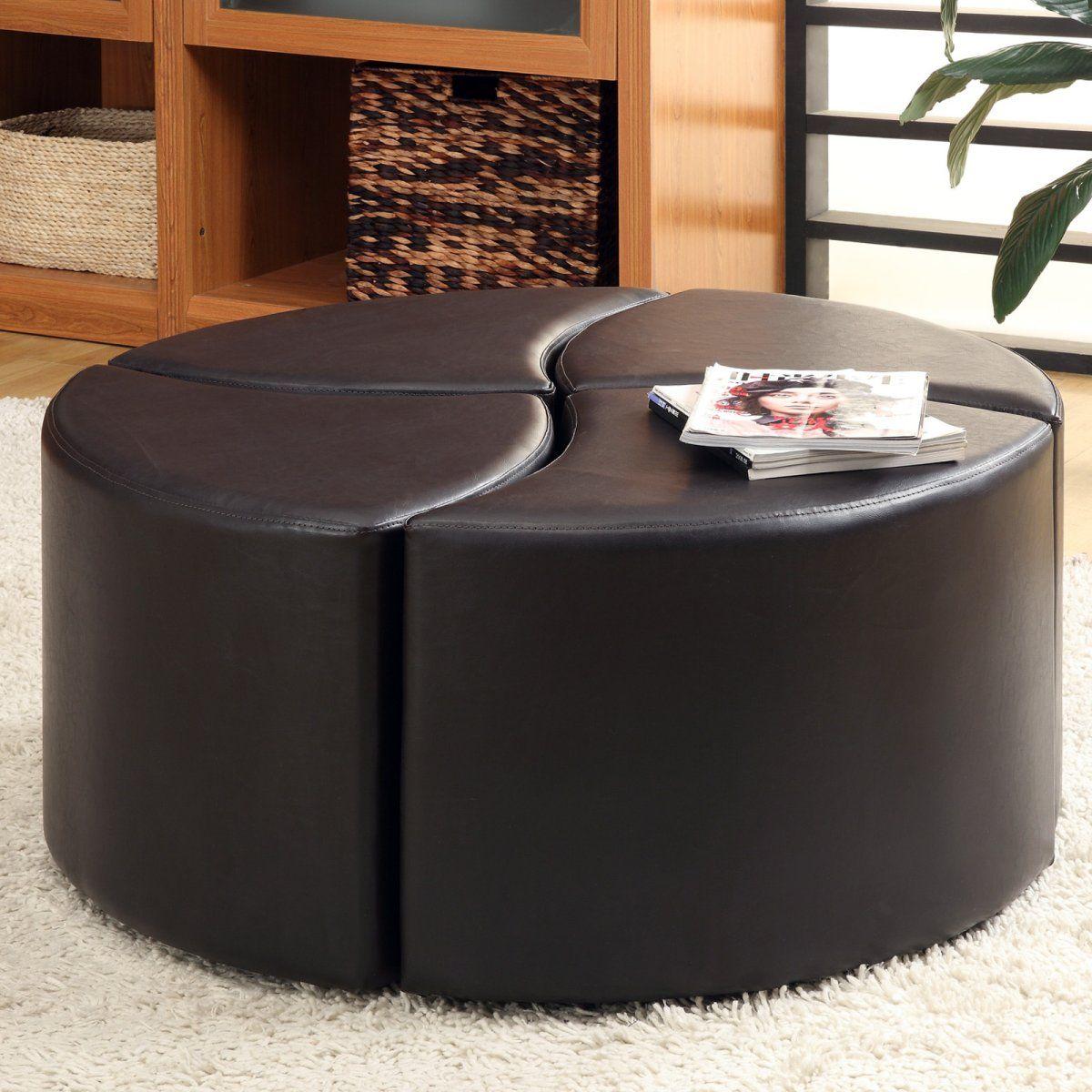 4 Piece Cocktail Ottoman Leather Ottoman Coffee Table Storage Ottoman Coffee Table Round Leather Ottoman [ jpg ]