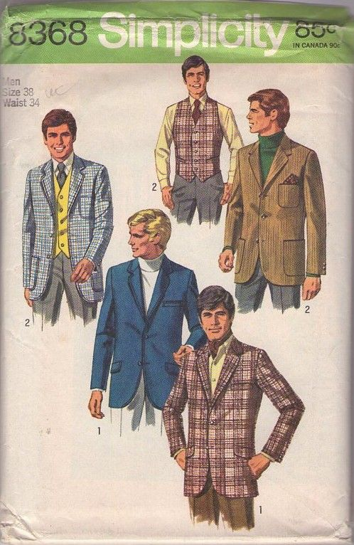 Simplicity 8368 Vintage 60\'s Sewing Pattern FAB Men\'s Mod Hipster ...