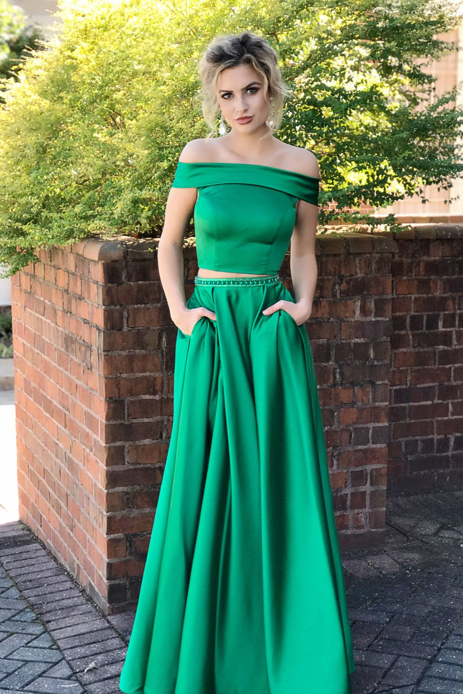 Two Piece Off Shoulder Green Long Prom Dress with Pockets | Ball ...