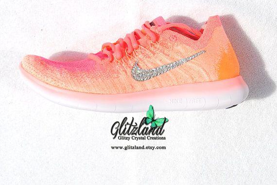 Swarovski Nike Free RN Flyknit 2017 Bright Mango Black Racer Pink Blinged  with SWAROVSKI 40438cc47