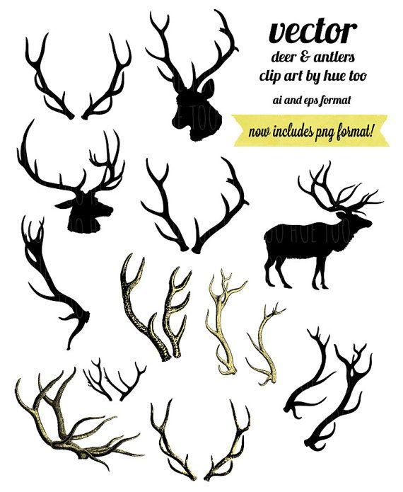 Deer Antlers Clip Art Vector Png Woodland Reindeer Antler Clipart Deer Head Silhouette Outline Overlays Png Vector Inst Deer Art Palette Art Whimsical Art