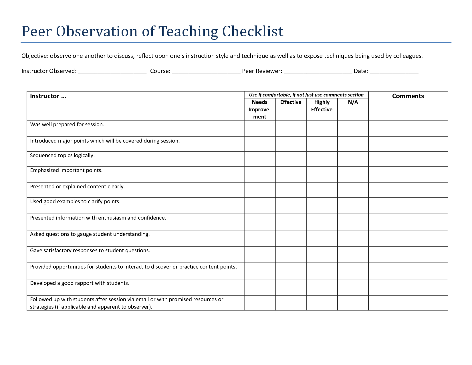 Image Result For Teacher Observation Template