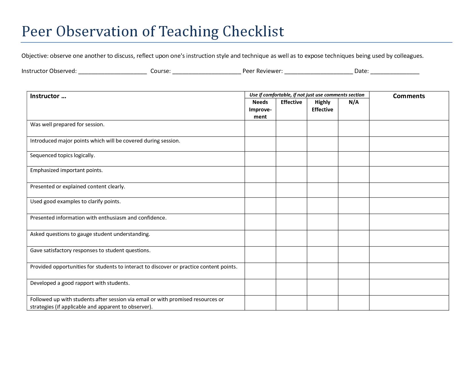 Image Result For Teacher Observation Template