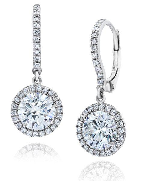 Gem Platinum Round Diamond Halo Drop Earrings Boucles D Oreilles Diamant