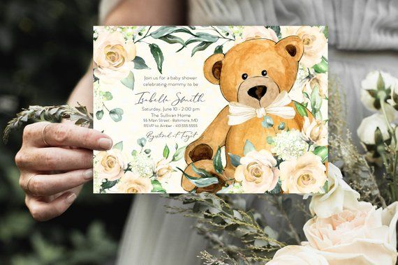 Yellow Floral Teddy Bear Baby Shower Invitation – Gender Neutral, Watercolor Modern Baby Shower Yellow Little Cub Printable