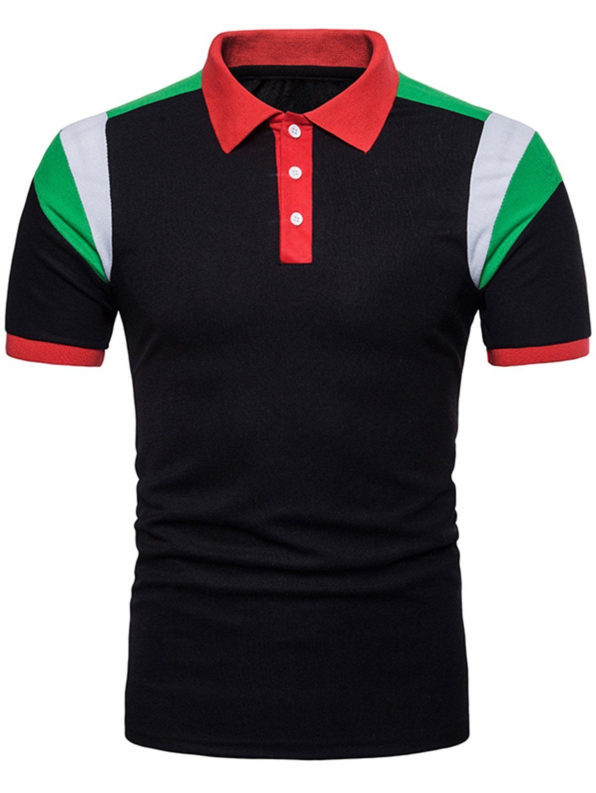Slimming Short Sleeve Color Block Polo Collar T Shirt In 2018
