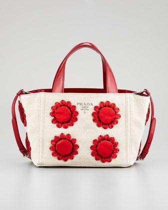 15c2a5e5a428 Prada Mistolino Flower Applique Basket Tote Bag