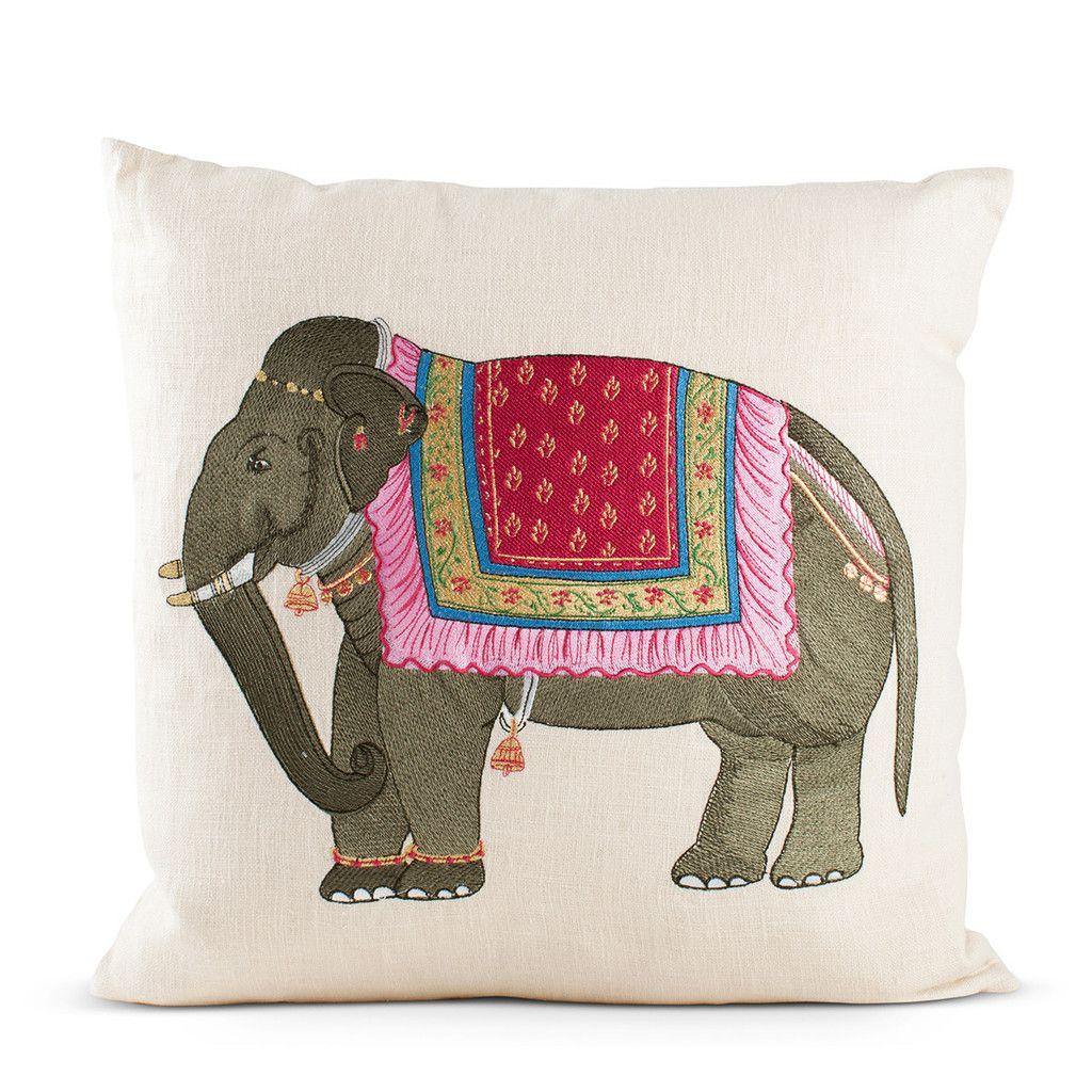 Tea Towels Pillow Talk: Punjabi Embroidered Elephant Pillow