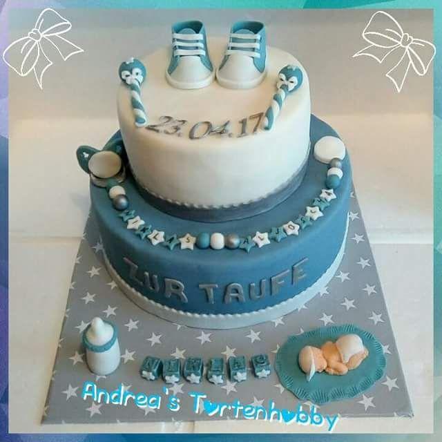 Baptism Cake Boy Tauftorte Blau Taufe Kuchen Motivtorten