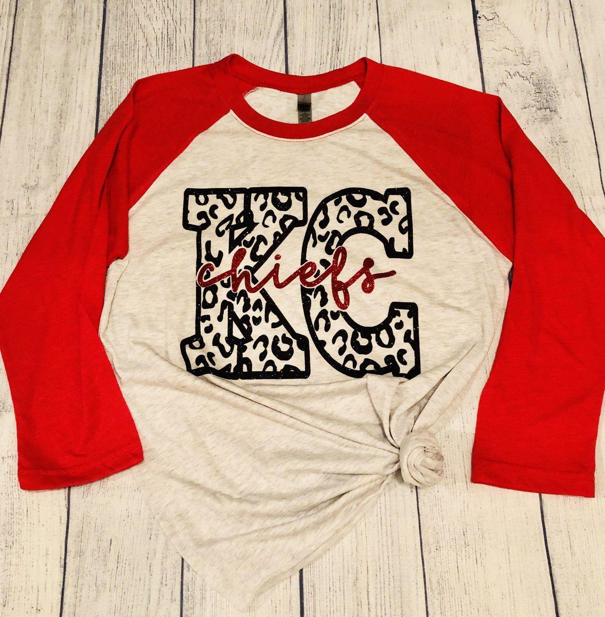 Kansas City Chiefs Cheetah 3/4 Sleeve   Women's KC Chiefs Football Shirt  
