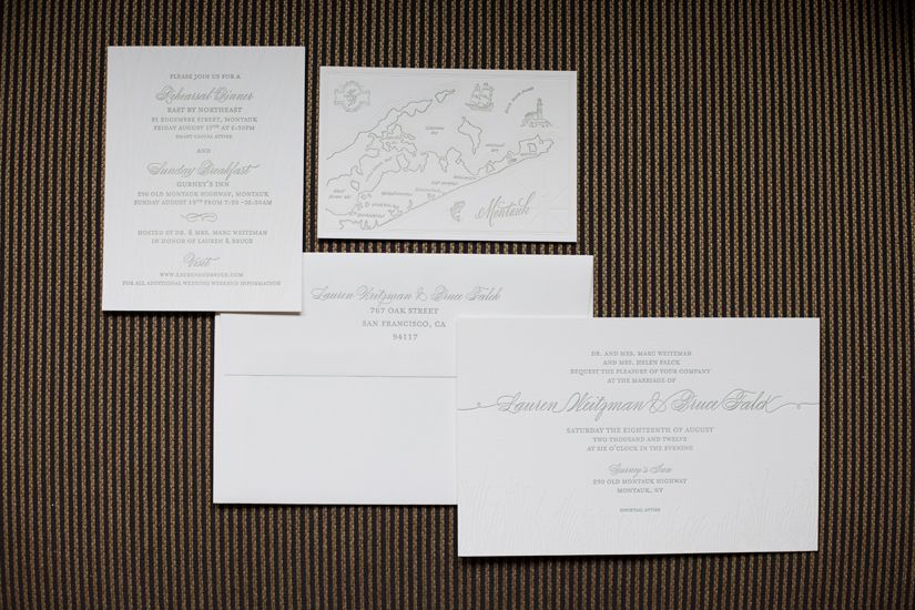 Wedding invitations inspired by the grass on the dunes of Montauk, and a custom map of the area