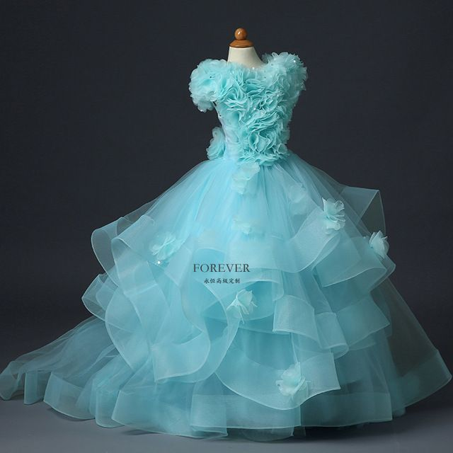 Gorgeous Vestidos de Primera Comunión Little Princess Tutu Vestidos de Bola de Tulle Rosette Ruffles Lace Up Girls Desfile Vestidos de Flores 2017
