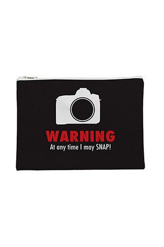 PFFTPCH011 Warning At Any Time I May Snap Flat Pouch