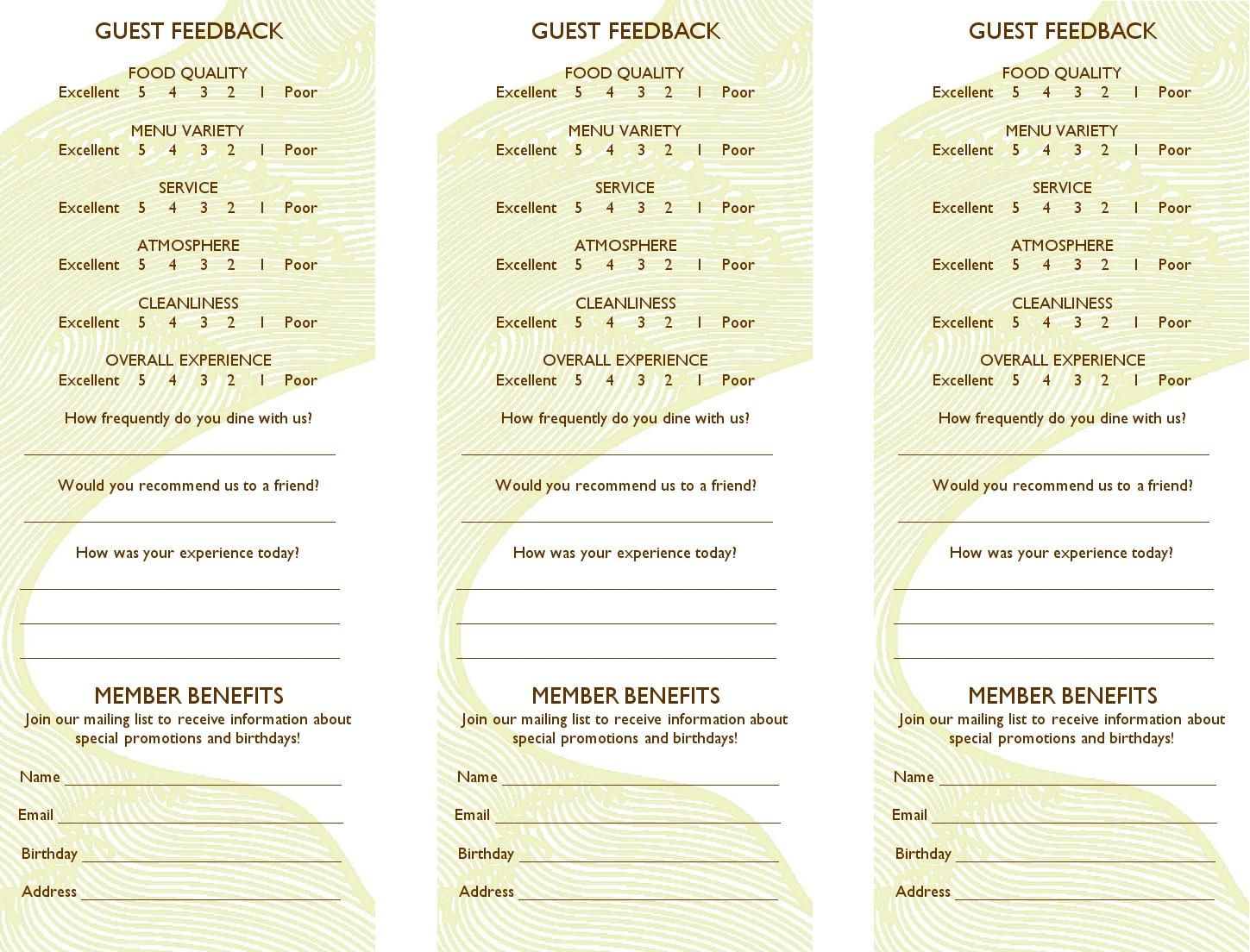 hotel comment card template Free Restaurant Comment Card Template Dramakoreaterbarucom ...