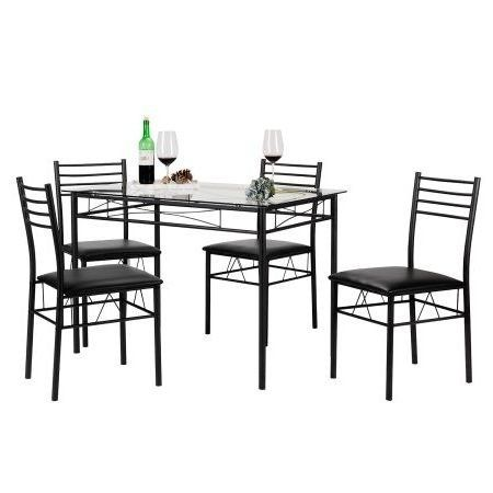 25 Home Decor Dining Table Set,For Four,Tempered Glass,Rectangle