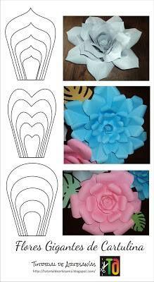 Flores Gigantes De Cartolina Com Molde Flor Gigante De