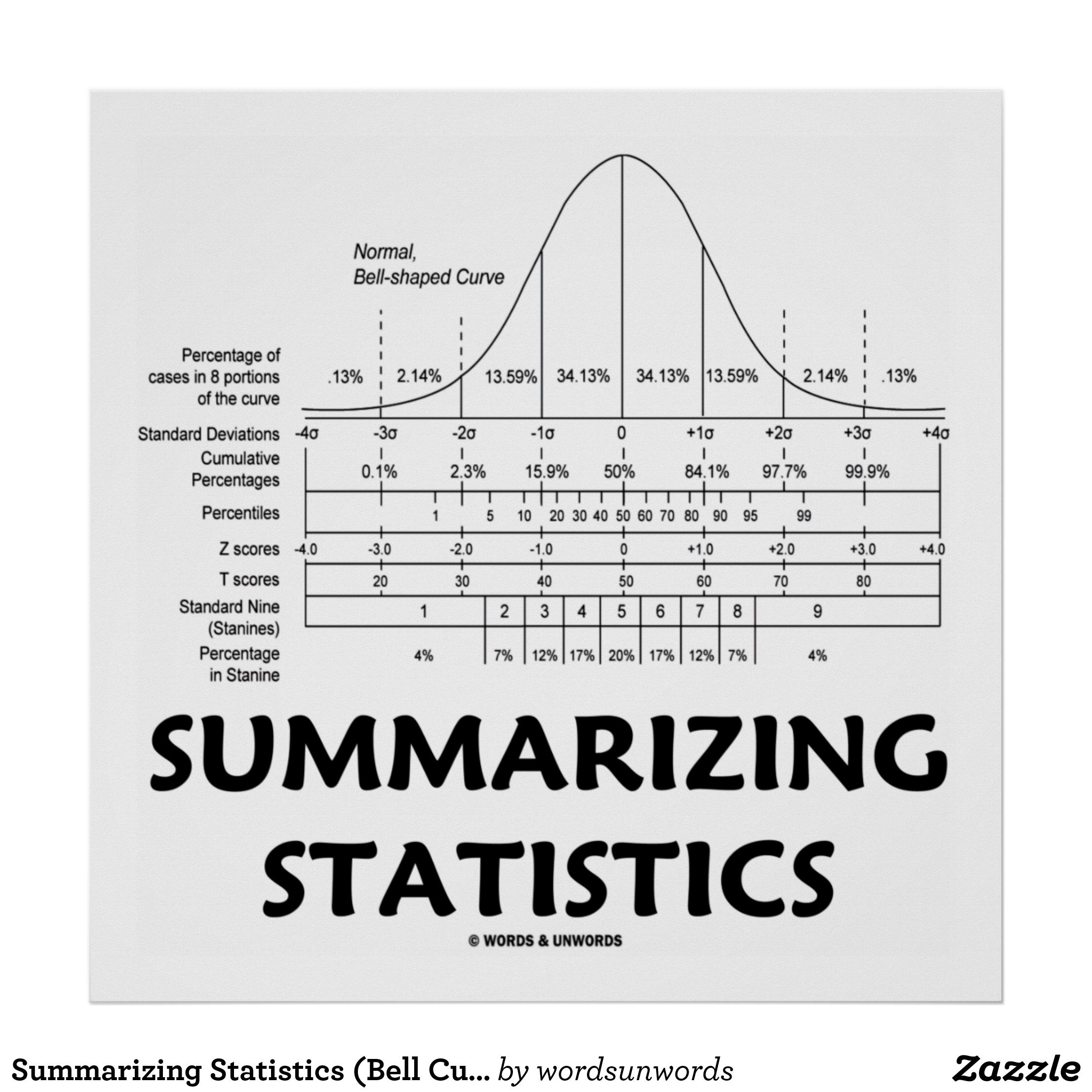 Summarizing Statistics Bell Curve Distribution Poster