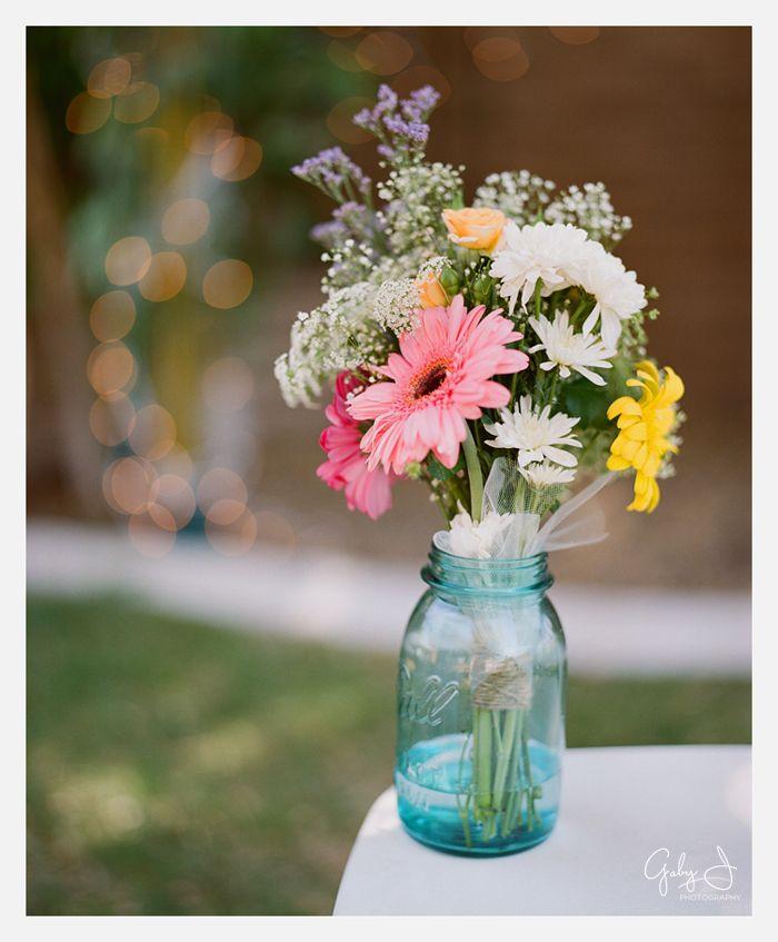 Wedding Flowers In Mason Jars: DIY Las Vegas Backyard Wedding