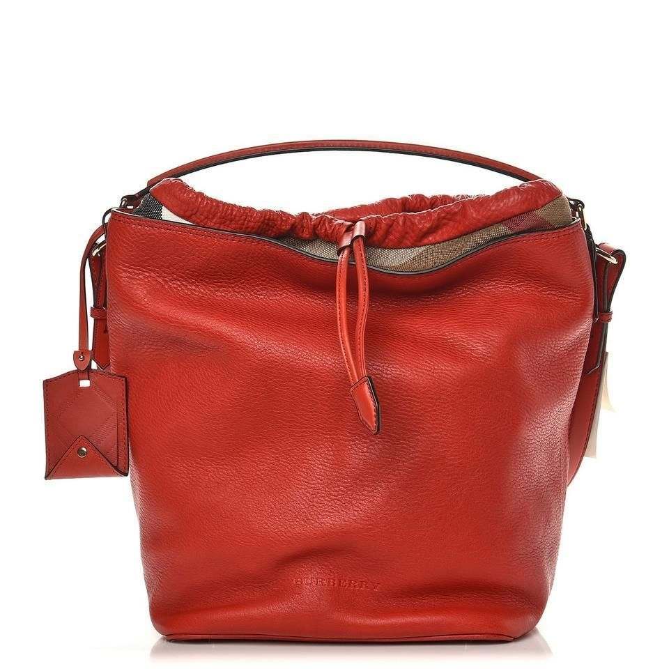 0f205537ed NWT BURBERRY ASHBY CADMIUM RED TEXTURED LEATHER CANVAS CHECK LOGO HOBO BAG