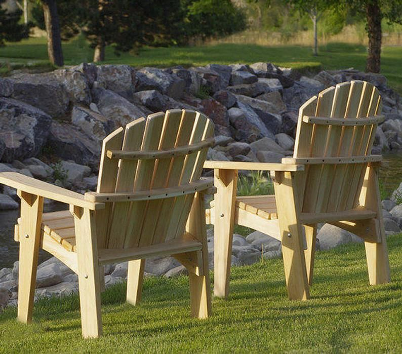 1 Adirondack Garden Chair Kit Unfinished 99 Clear Wood Etsy
