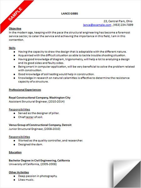 Structural Engineer Resume Structural Engineer Resume Sample  Resume Examples  Pinterest