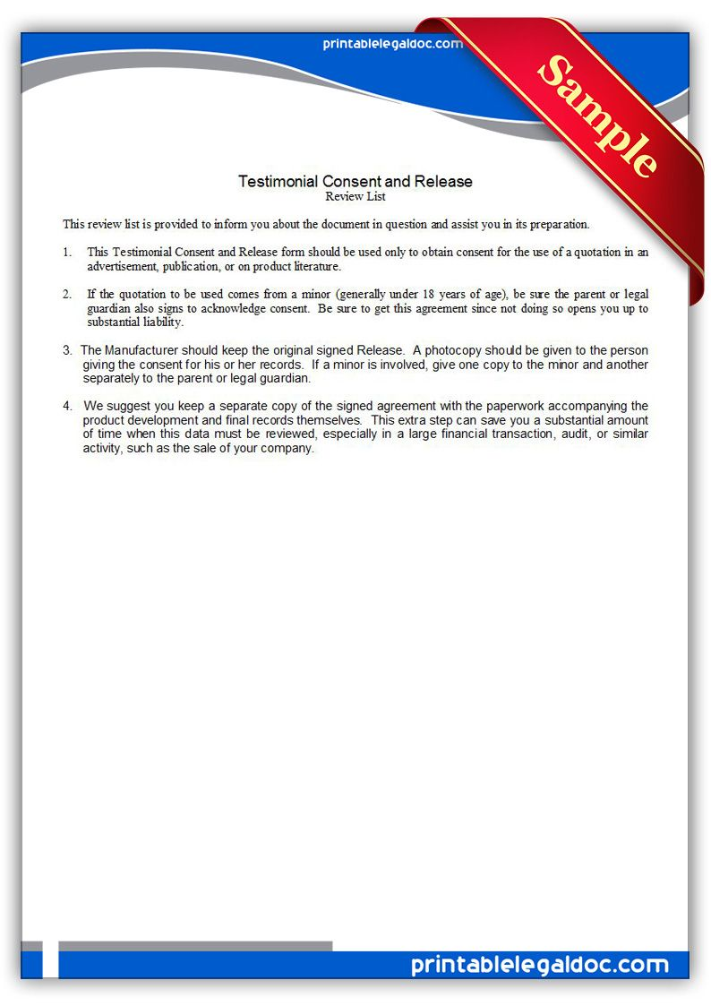 Free Printable Testimonial Consent And Release Legal Forms | Legal ...