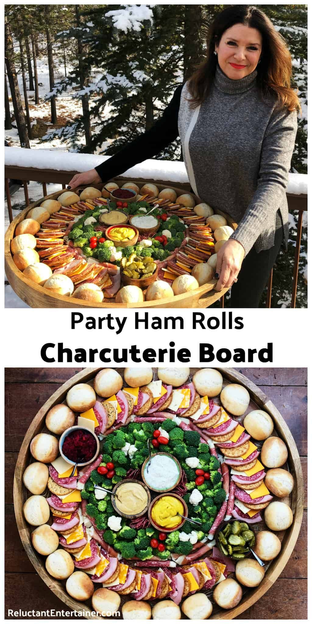Party Ham Rolls Charcuterie Board is a favorite dinner board for a large gathering. Layer your favorite cheese, ham, salami, and pickles on a French roll #partyhamrolls #hamrolls #charcuterieboard via @sandycoughlin #charcuterieboard