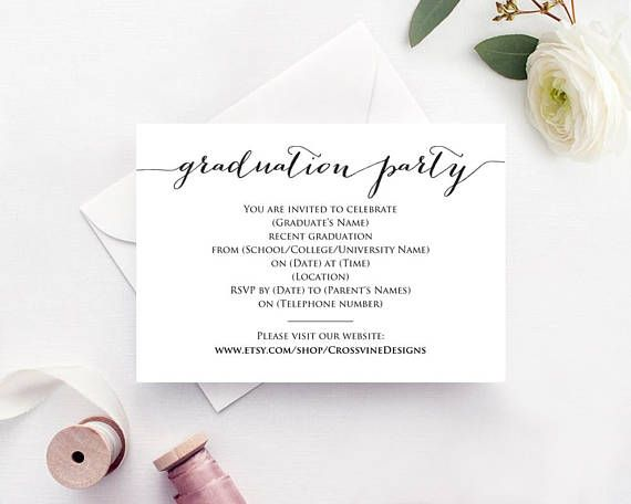 Edit Wedding Invitation Card: Graduation Party Invitation Template: Instantly Download