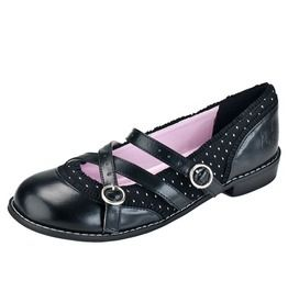 La Bella Doll Kitty Cat X Strap Dolly Mary Jane Polka Dot Rockabilly Shoes