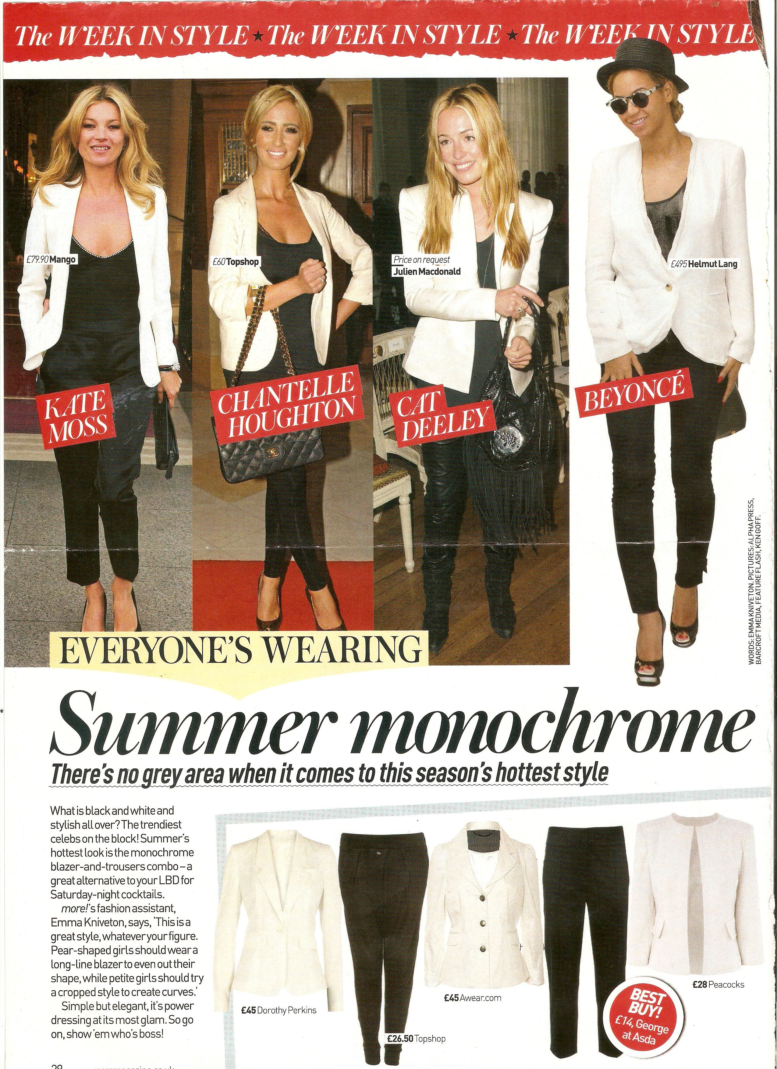 Summer Monochrome in More! Magazine written by Emma Kniveton featuring Kate Moss, Chantelle Houghton, Cat Deely & Beyonce
