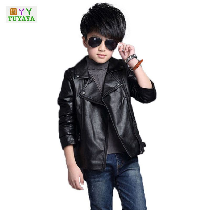 New 2018 Boys Leather Jacket Motorcycle Style Pu Leather Jackets For