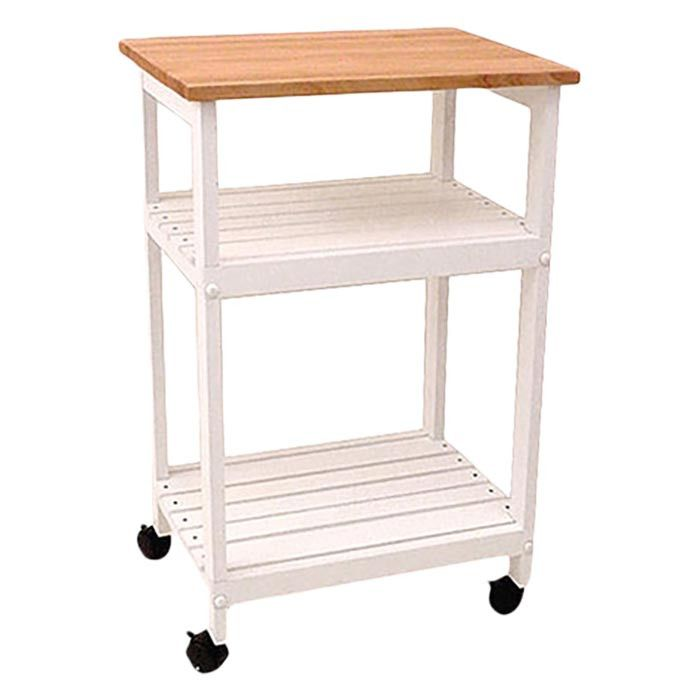 Allie Microwave Kitchen Cart With Butcher Block Top