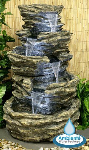Fuente Cascada de Agua Rocosa 5 Alturas - Luces LED - Ambienté - fuentes de cascada
