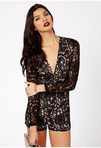 ff6fe101d4 Missguided - Andreia Lace Plunge Playsuit In Black