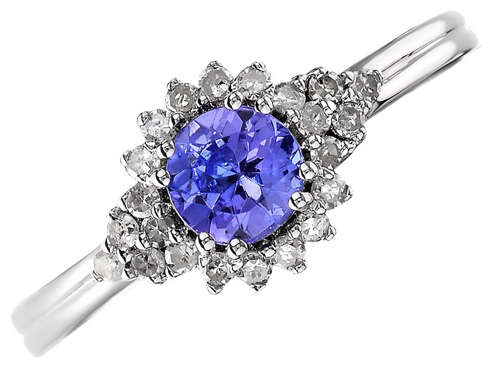 d7889fe55 9ct White Gold Tanzanite And Diamond Cluster Ring - 18pts - D6620 | F.Hinds  Jewellers