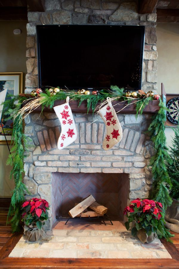 Rustic Christmas Fireplace Mantel Decors Fireplace Mantles - christmas decorations for mantels