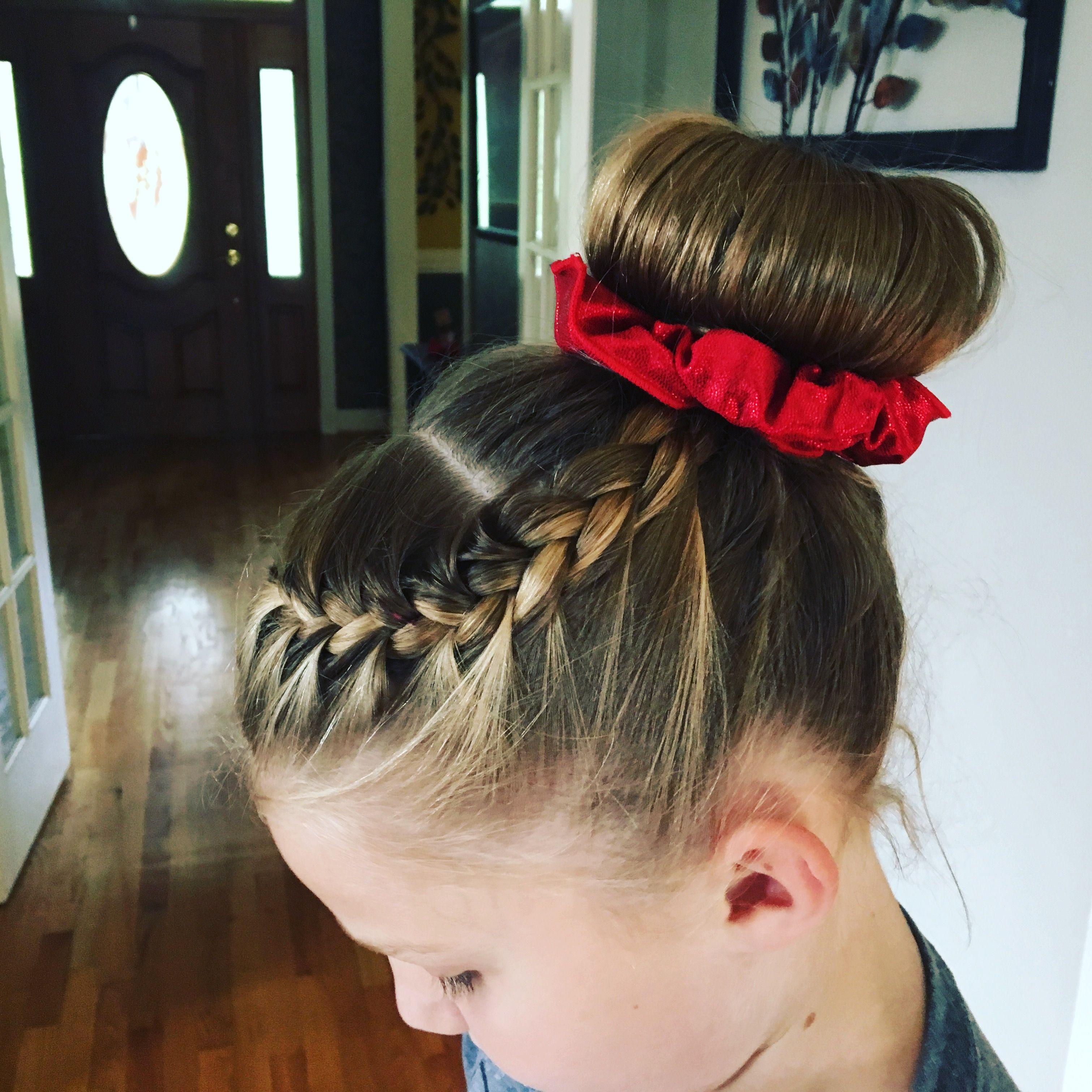 Gymnastics Hair Side Braid Into A Bun Gymnastics Hair Competition Hair Braided Hairstyles Easy