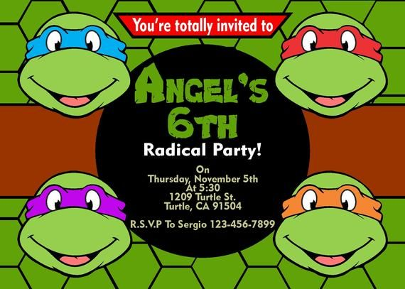 image regarding Ninja Turtles Invitations Printable identified as Ninja Turtles #2 Birthday Invitation Printable 4x6 or 5x7