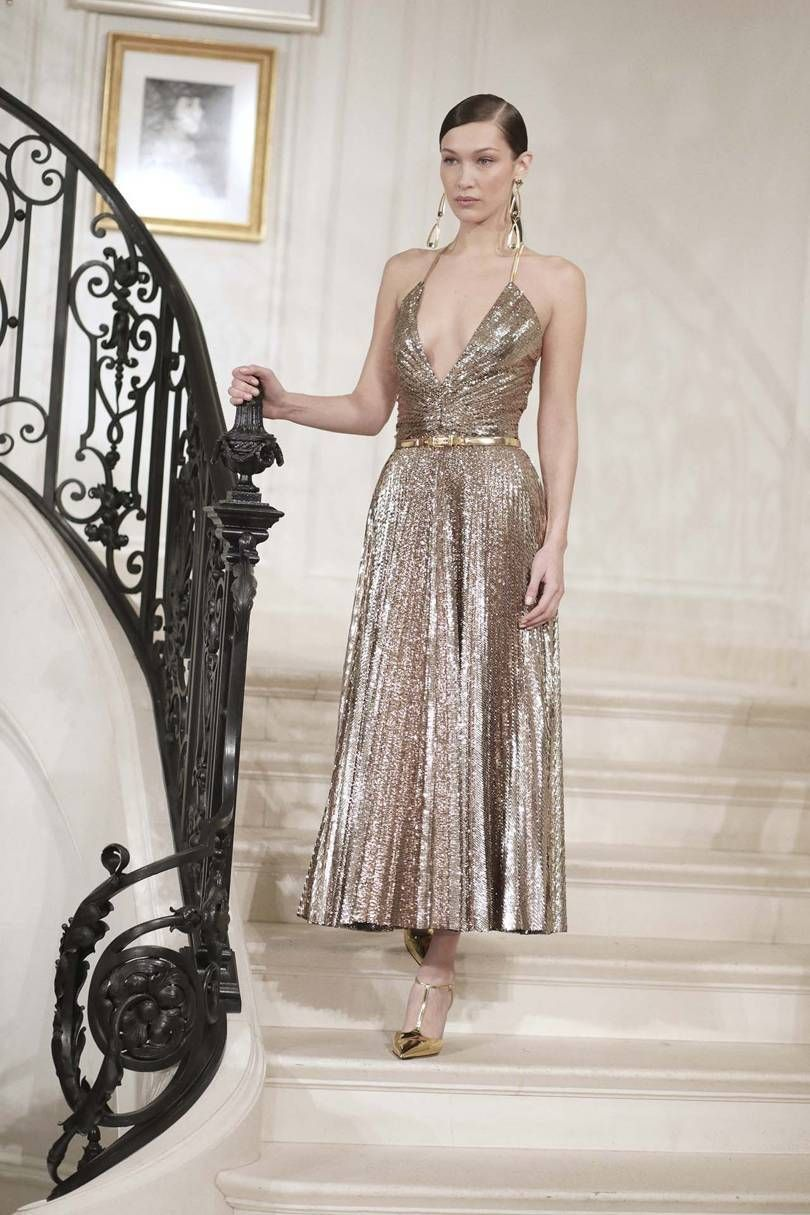 NYFW Ralph Lauren 2019 Spring Summer Collection Review by Alley Girl bella hadid gold dress
