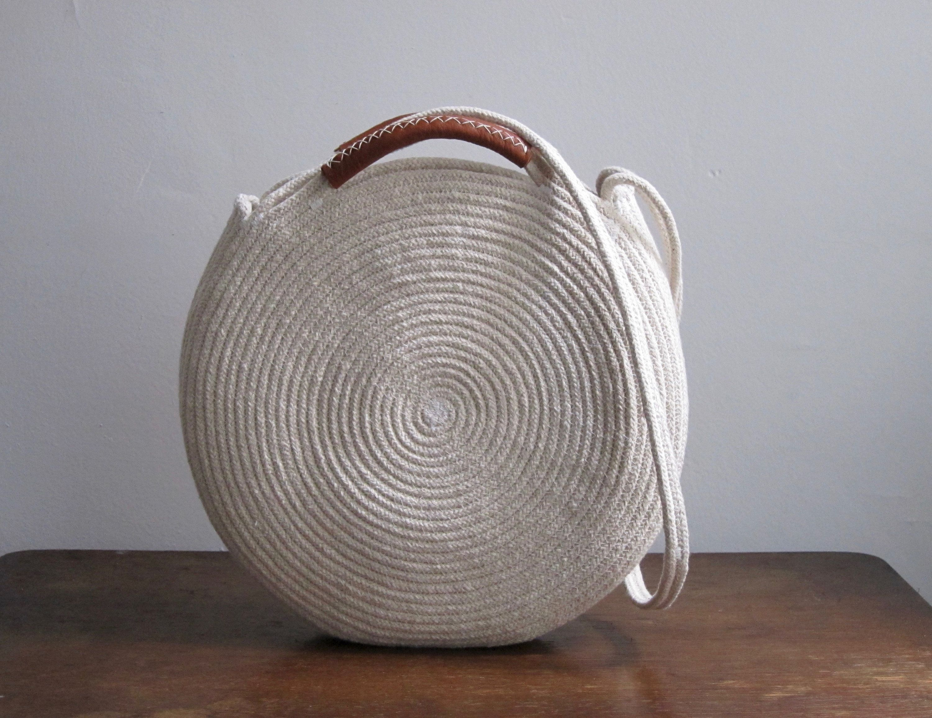 e65abcaa19c5 Round Basket Bag with Leather Top Handles and Shoulder Strap | One ...