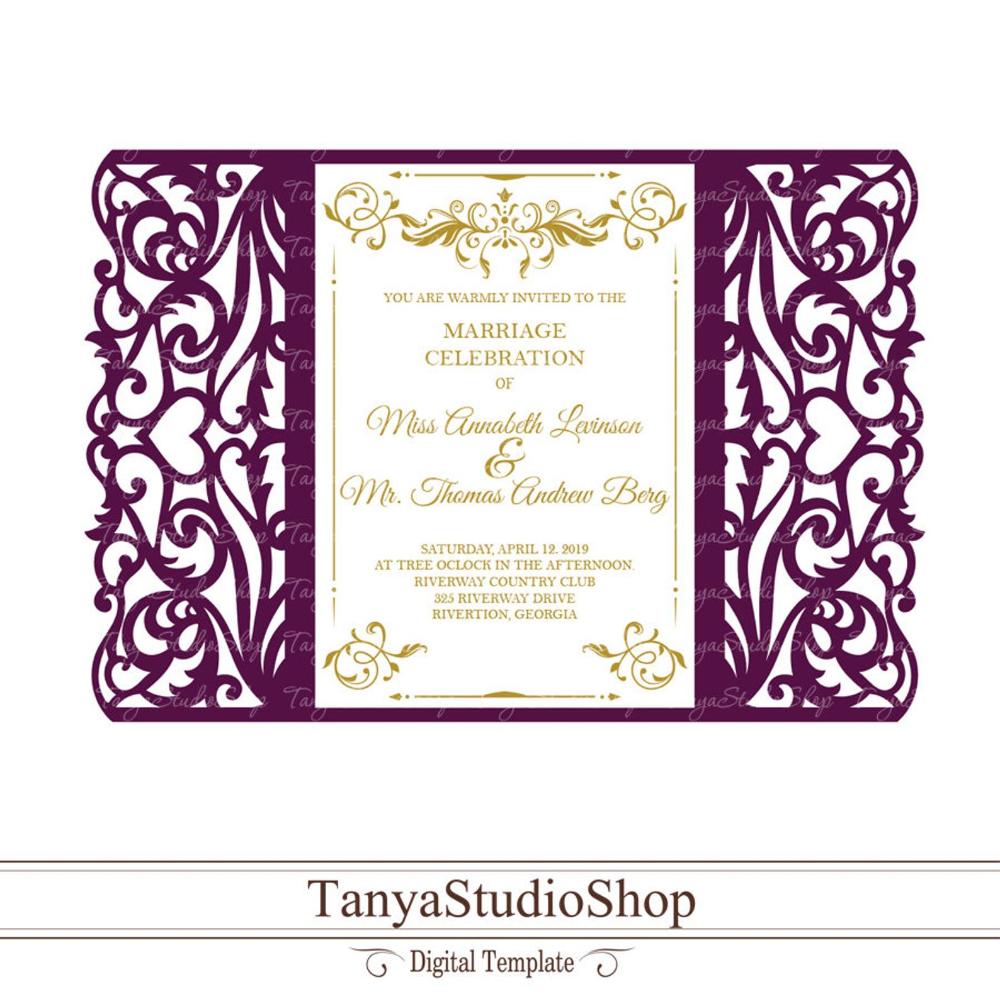 Gate-fold invitation template SVG DXF ai CRD eps Laser | Etsy | Cricut  wedding invitations, Invitations, Wedding invitations diy handmade