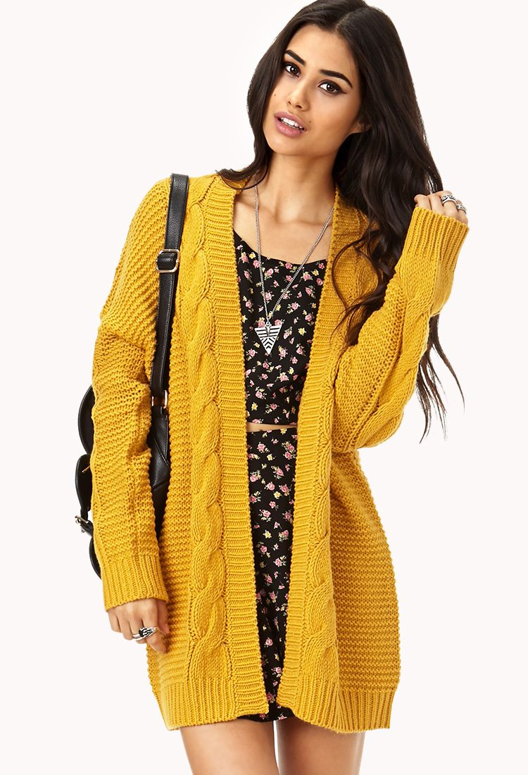Longline Mixed Knit Cardigan | FOREVER21 - 2000128733 | things i ...