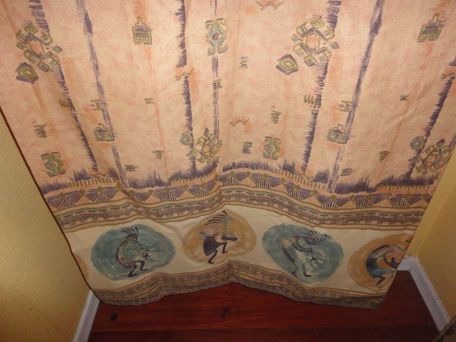 Vohann Kokopelli Shower Curtain Southwest Teal Amethyst Terra Cotta