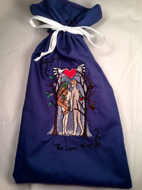 Handmade Drawstring Tarot Card Bag The Lovers by PlanetPinup