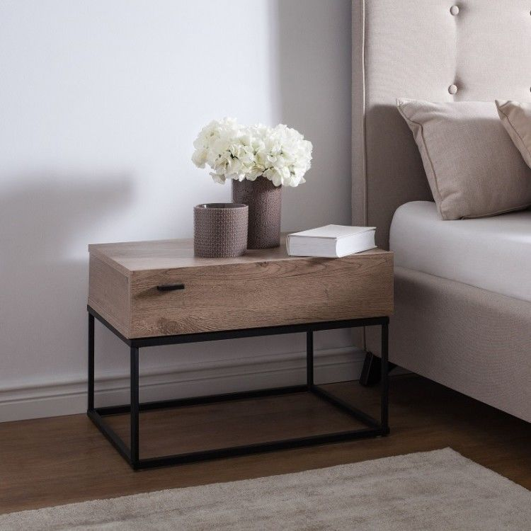 Industrial Style Bedside Table With Large Drawer Oak Wood ...