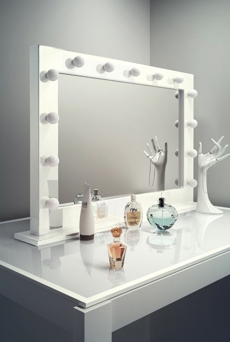 High Gloss White Mirror Table Top Led H 700mm X W 1000mm X D