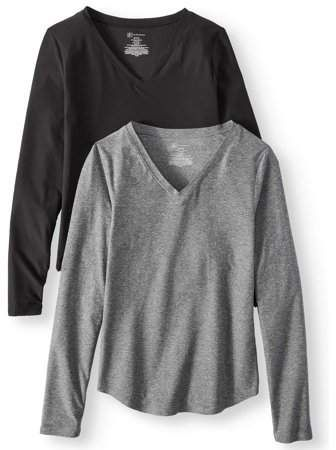 1314f3d3e2f5 No Boundaries Juniors  Brushed V-Neck Long Sleeve T-Shirt 2-Pack ...