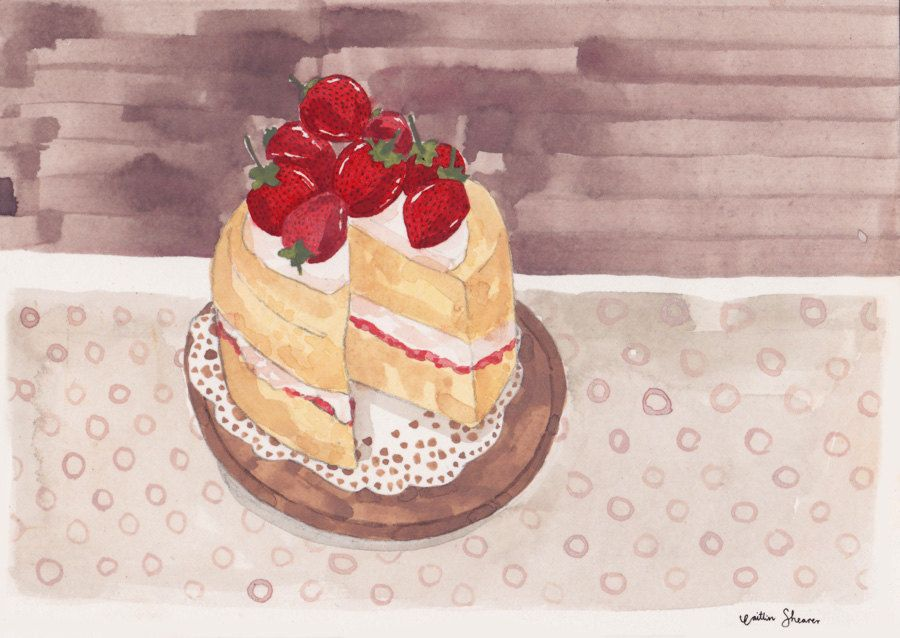 Strawberry Cake by Caitlin Shearer