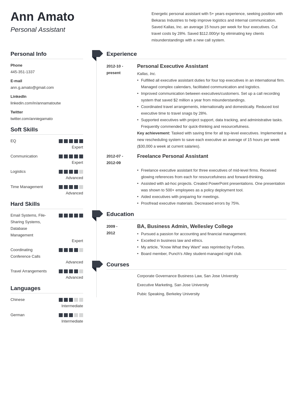 personal assistant resume example template muse in 2020